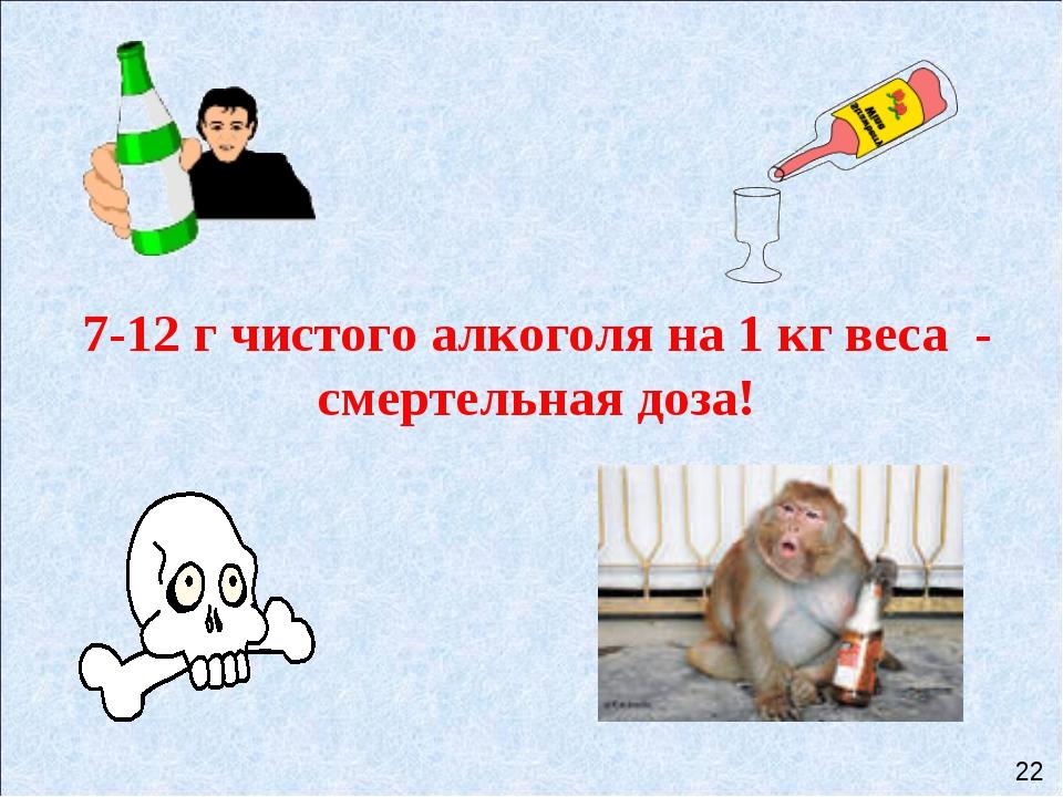 7-12 г чистого алкоголя на 1 кг веса - смертельная доза! 22