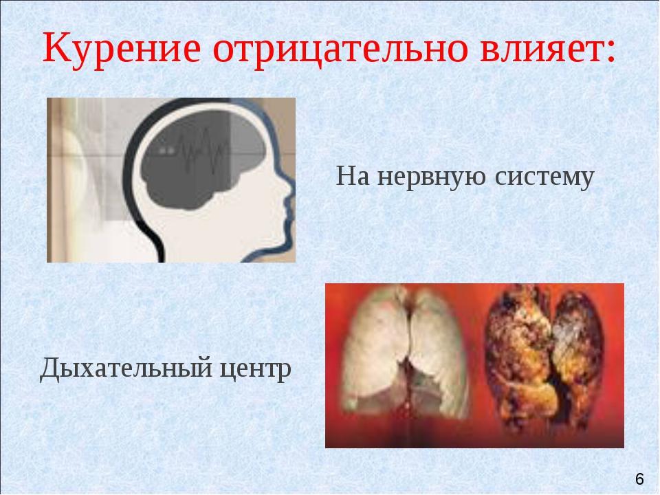 Курение отрицательно влияет:   На нервную систему Дыхательный центр 6