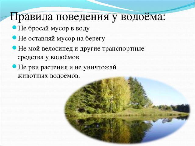 Правила поведения у водоёма: Не бросай мусор в воду Не оставляй мусор на бере...