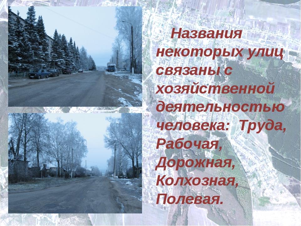 Названия некоторых улиц связаны с хозяйственной деятельностью человека: Тру...