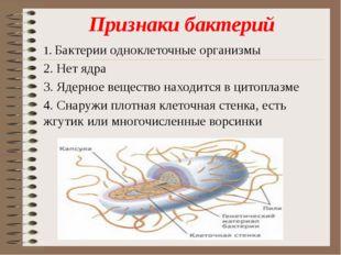 Признаки бактерий 1. Бактерии одноклеточные организмы 2. Нет ядра 3. Ядерное