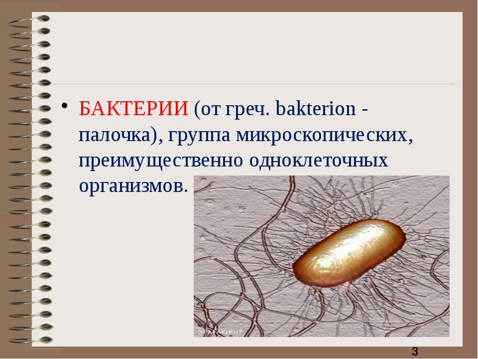 БАКТЕРИИ (от греч. bakterion - палочка), группа микроскопических, преимущест...
