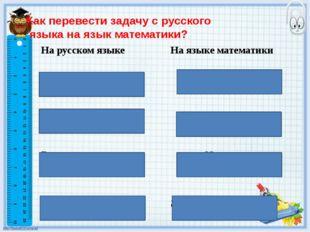 Как перевести задачу с русского языка на язык математики? На русском языке На