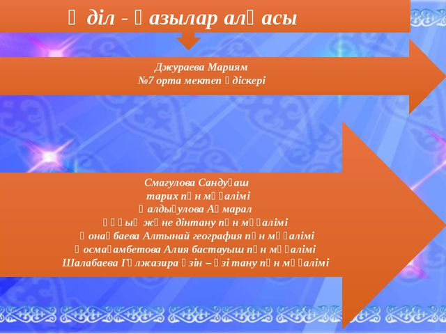 Әділ - қазылар алқасы Смагулова Сандуғаш тарих пән мұғалімі Қалдығулова Ақмар...