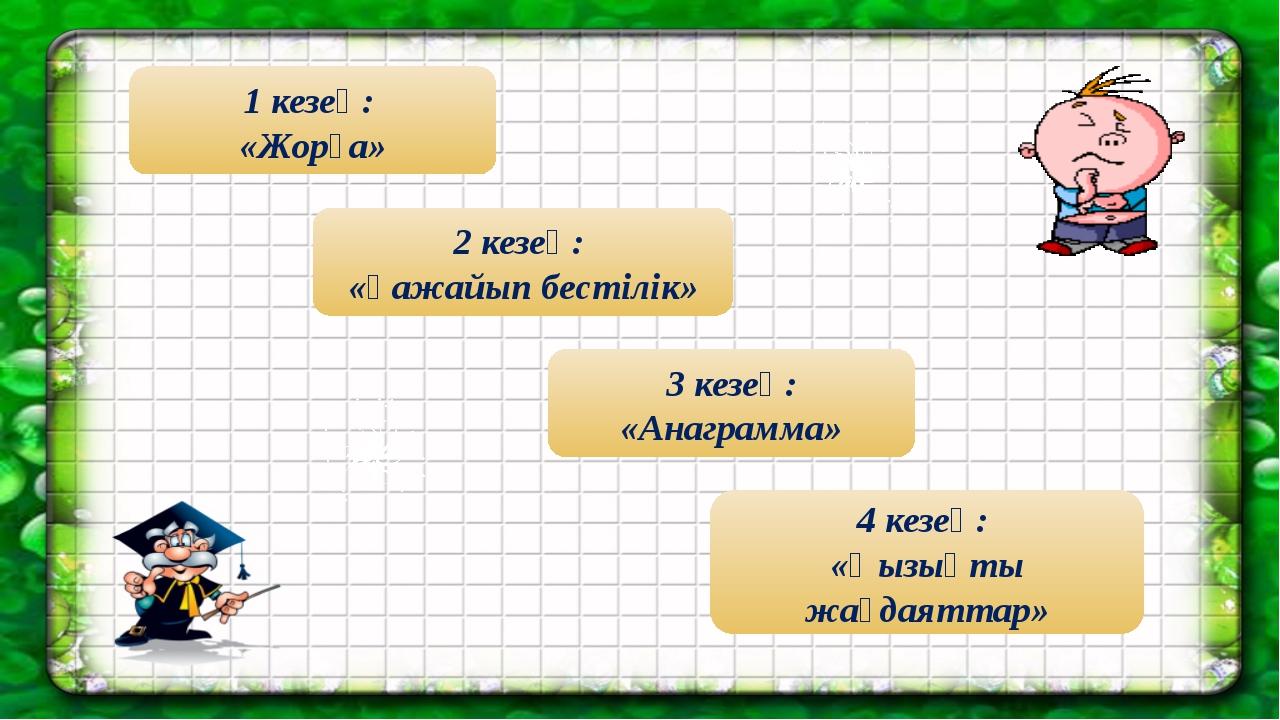 1 кезең: «Жорға» 4 кезең: «Қызықты жағдаяттар» 3 кезең: «Анаграмма» 2 кезең:...