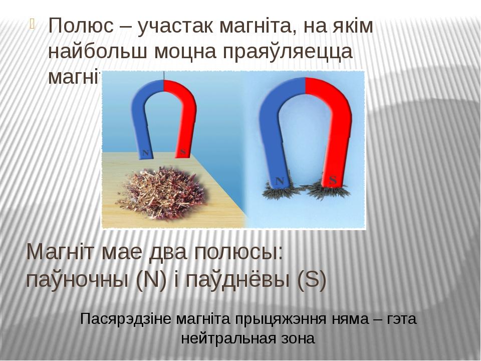 Магніт мае два полюсы: паўночны (N) і паўднёвы (S) Полюс – участак магніта, н...
