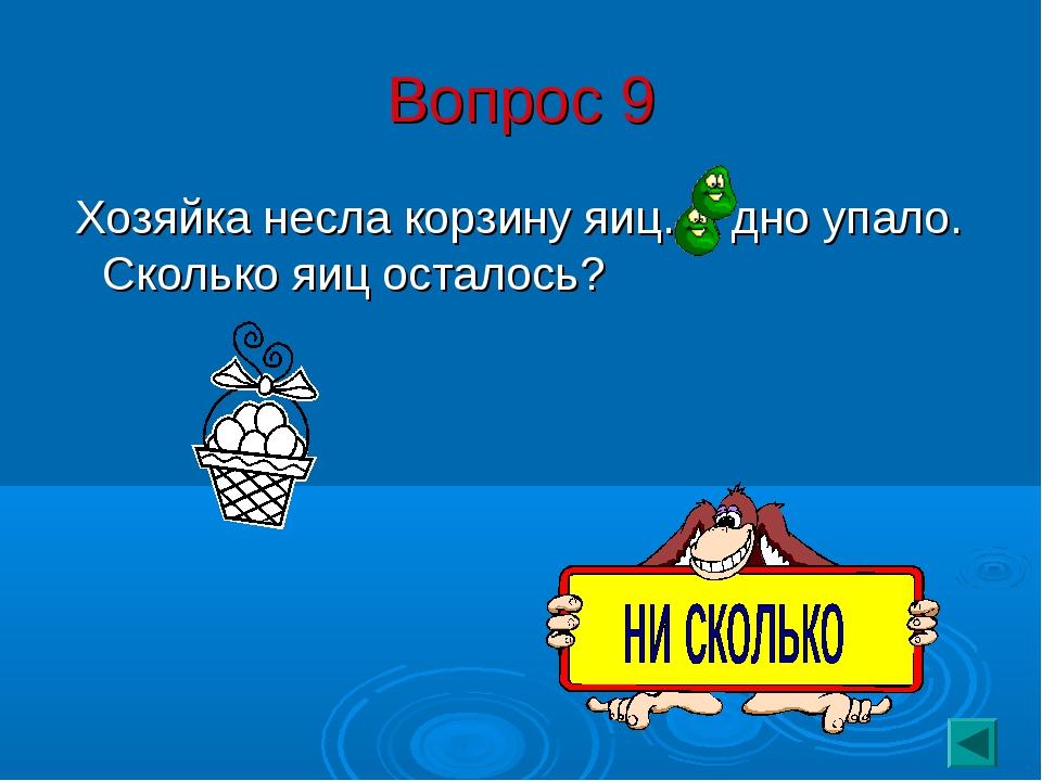 Вопрос 9 Хозяйка несла корзину яиц. А дно упало. Сколько яиц осталось?