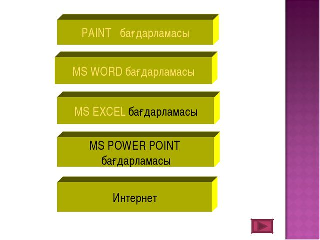 PAINT бағдарламасы MS WORD бағдарламасы MS EXCEL бағдарламасы MS POWER POINT...