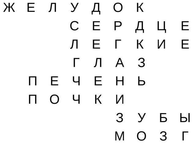 Ж Е Л У Д О К  С Е Р Д Ц Е Л Е Г К И Е ГЛАЗ ПЕЧЕ...