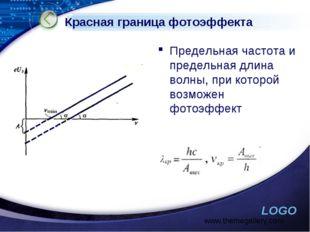 Красная граница фотоэффекта Предельная частота и предельная длина волны, при