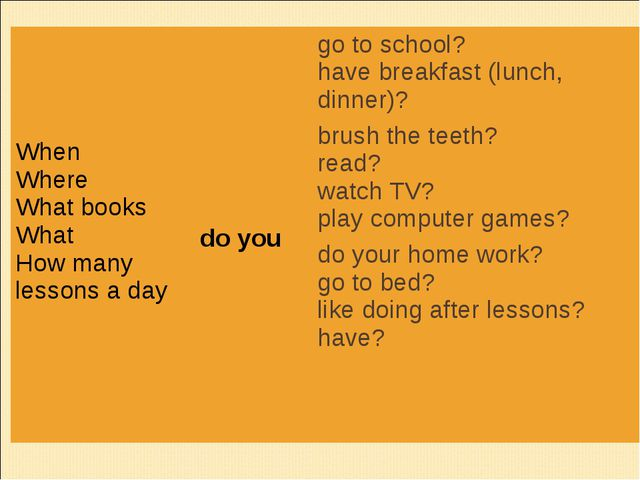 When Where What books What How many lessons a day 	 do you	go to school? hav...
