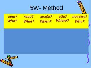 5W- Method кто? Who?что? What? когда? When? где? Where? почему? Why?