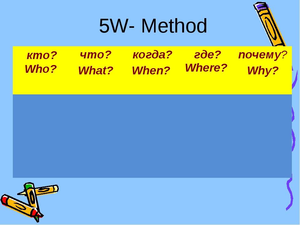 5W- Method кто? Who?что? What? когда? When? где? Where? почему? Why?...