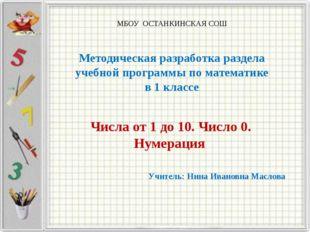 МБОУ ОСТАНКИНСКАЯ СОШ Методическая разработка раздела учебной программы по м