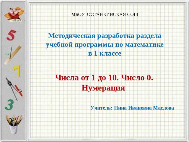 МБОУ ОСТАНКИНСКАЯ СОШ Методическая разработка раздела учебной программы по м...