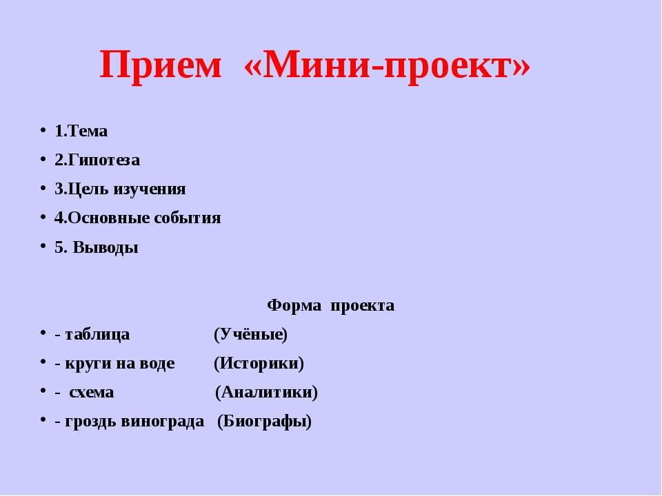 Прием «Мини-проект» 1.Тема 2.Гипотеза 3.Цель изучения 4.Основные события 5. В...