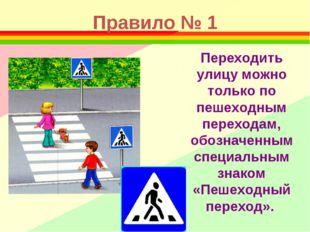Правило № 1 Переходить улицу можно только по пешеходным переходам, обозначенн