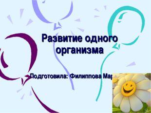 Развитие одного организма Подготовила: Филиппова Мария