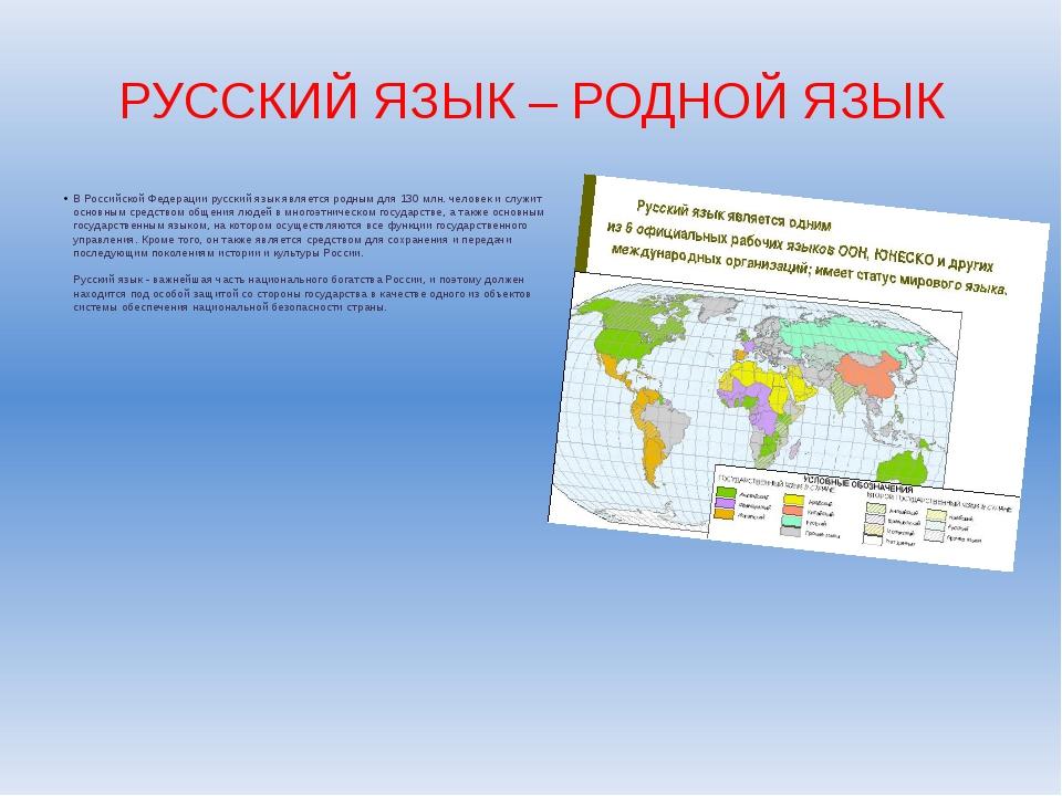 РУССКИЙ ЯЗЫК – РОДНОЙ ЯЗЫК В Российской Федерации русский язык является родны...