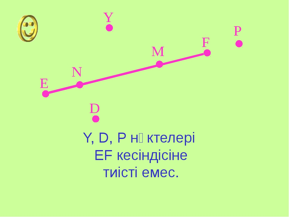 Е F Y P D N M Y, D, P нүктелері EF кесіндісіне тиісті емес.