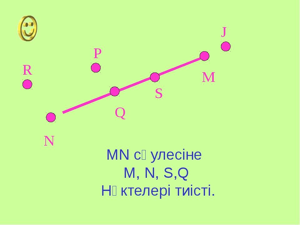 M N S Q P J R MN сәулесіне M, N, S,Q Нүктелері тиісті.