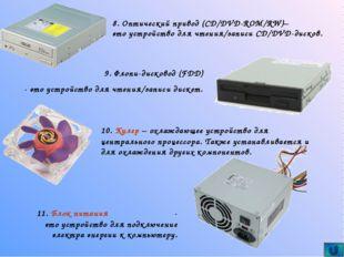 9. Флопи-дисковод (FDD) - это устройство для чтения/записи дискет. 10. Кулер