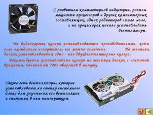 На видеокартах кулера устанавливаются производителями, хотя если охладитель