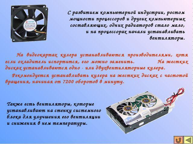 На видеокартах кулера устанавливаются производителями, хотя если охладитель...