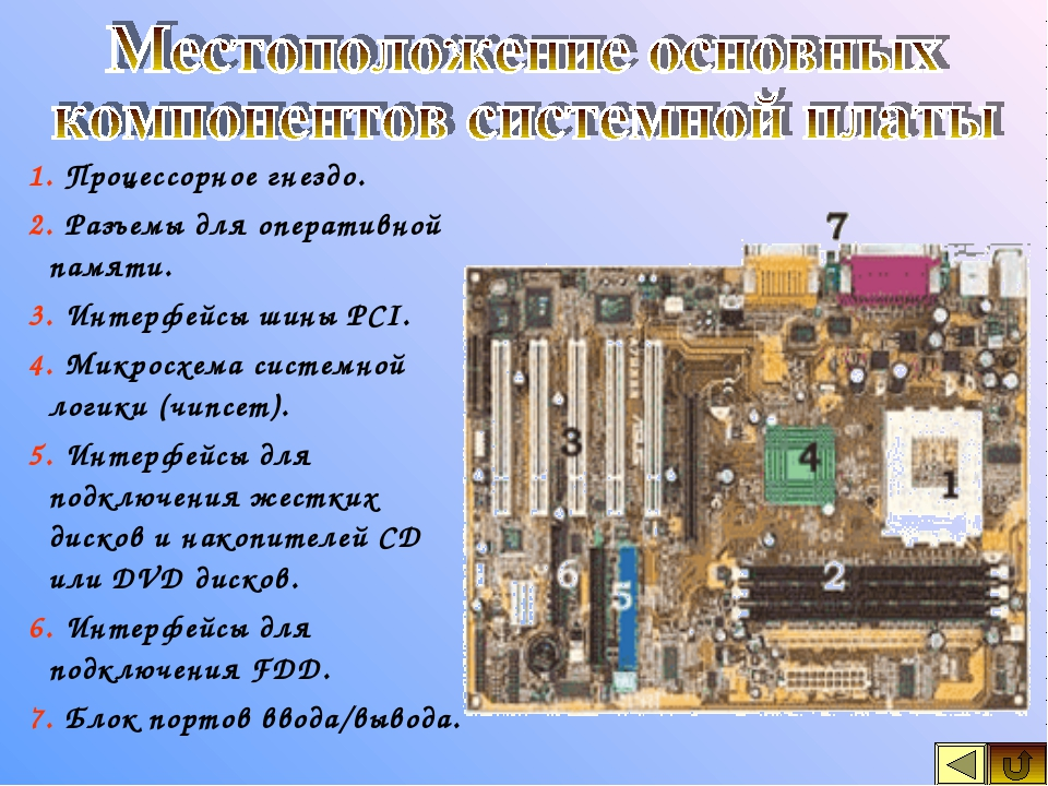 1. Процессорное гнездо. 2. Разъемы для оперативной памяти. 3. Интерфейсы шины...