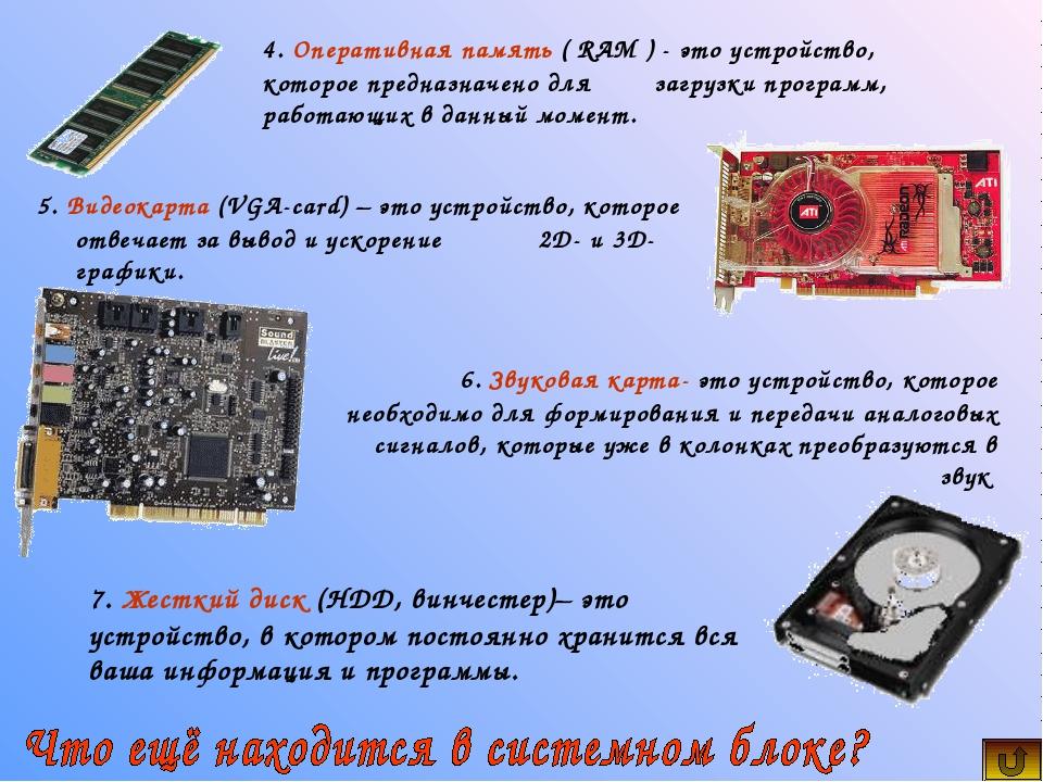 5. Видеокарта (VGA-card) – это устройство, которое отвечает за вывод и ускоре...