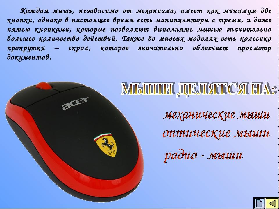 Каждая мышь, независимо от механизма, имеет как минимум две кнопки, однако в...