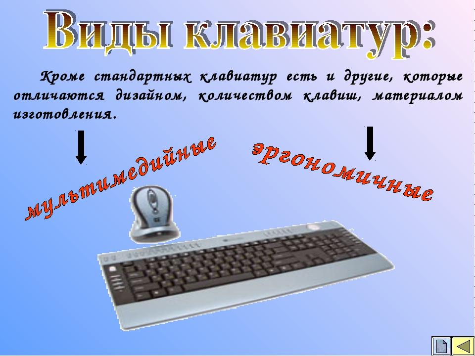 Кроме стандартных клавиатур есть и другие, которые отличаются дизайном, коли...