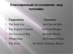 Классификация по основанию «вид топонима» Гидронимы Оронимы The Irish Sea the