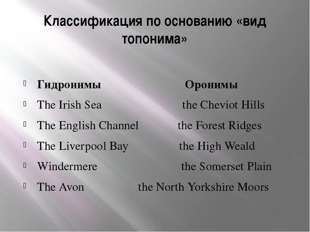 Классификация по основанию «вид топонима» Гидронимы Оронимы The Irish Sea the...