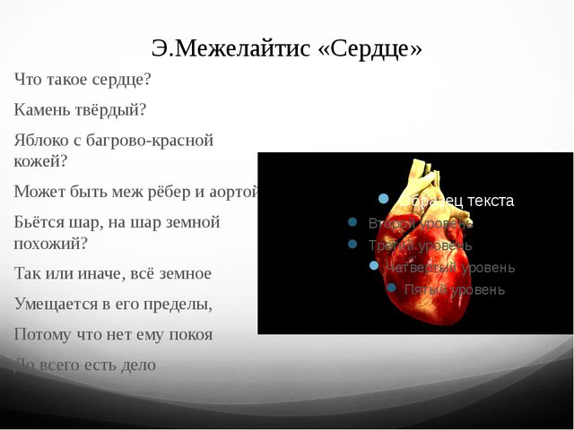 Э.Межелайтис «Сердце» Что такое сердце? Камень твёрдый? Яблоко с багрово-крас...