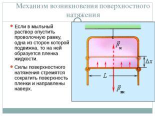 Механизм возникновения поверхностного натяжения Если в мыльный раствор опусти