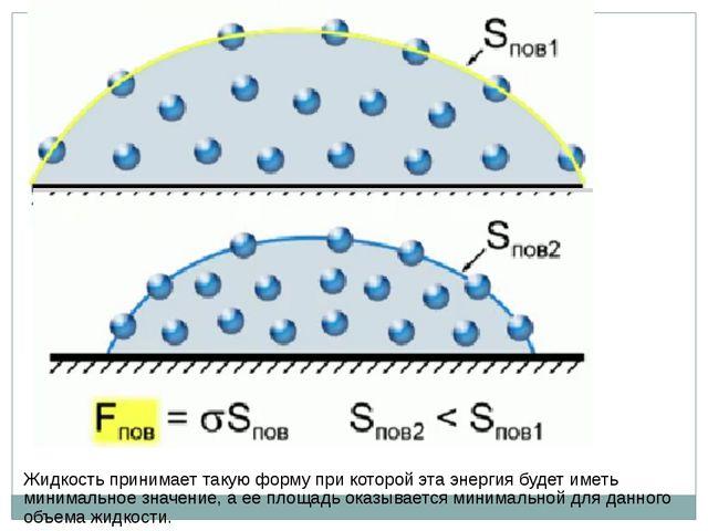 Жидкость принимает такую форму при которой эта энергия будет иметь минимально...