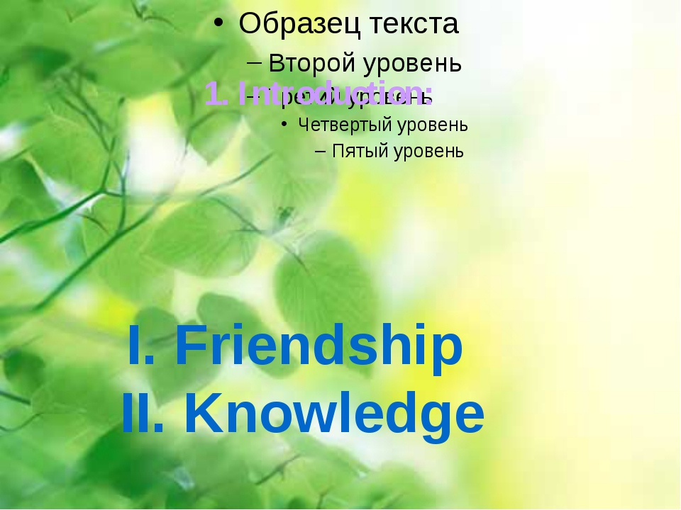 1. Introduction: I. Friendship II. Knowledge