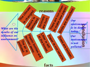 What are the results of our influence on environment? facts reasons conclusi