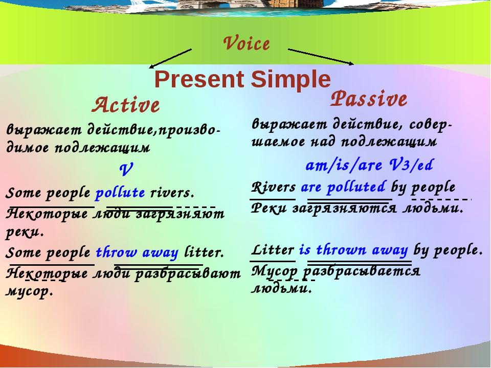 Voice Active выражает действие,произво- димое подлежащим V Some people pollut...