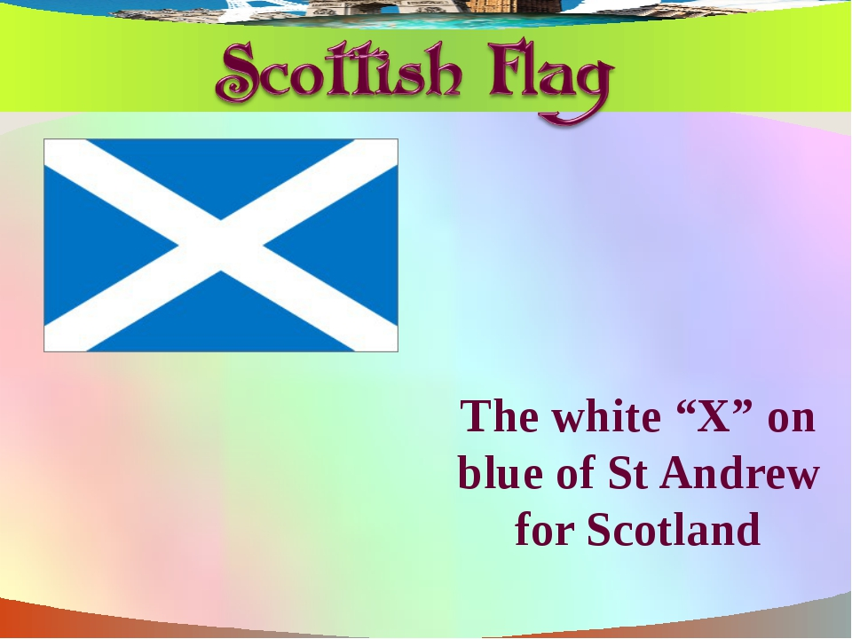 """The white """"X"""" on blue of St Andrew for Scotland"""