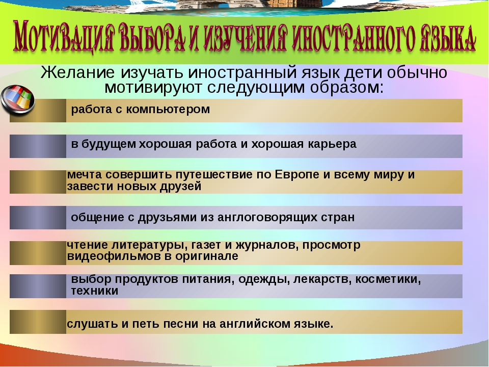 Желание изучать иностранный язык дети обычно мотивируют следующим образом: ра...