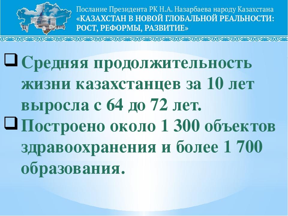 Средняя продолжительность жизни казахстанцев за 10 лет выросла с 64 до 72 лет...