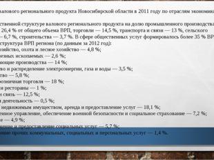 Отрасли Структура валового регионального продукта Новосибирской области в 201