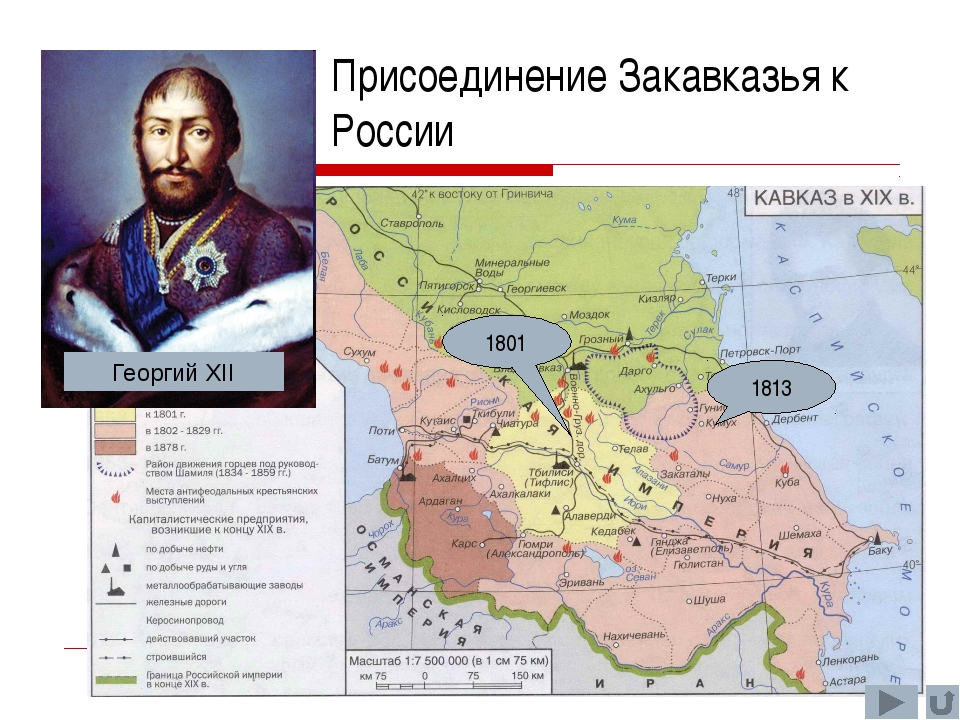 1801 1813 Присоединение Закавказья к России Георгий XII