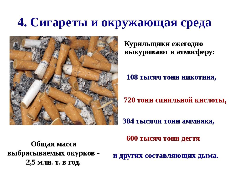 4. Сигареты и окружающая среда  Общая масса выбрасываемых окурков - 2,5 мл...