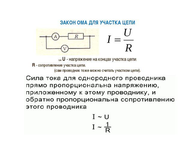 ЗАКОН ОМА ДЛЯ УЧАСТКА ЦЕПИ где U - напряжение на концах участка цепи, R - со...