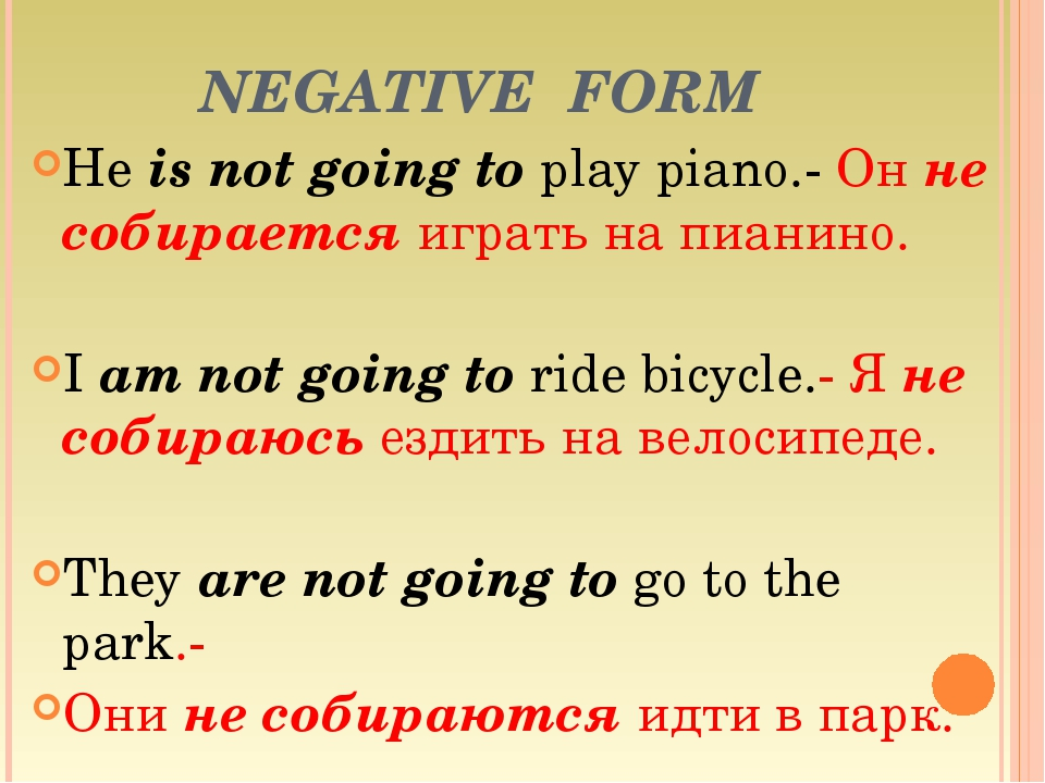 He is not going to play piano.- Он не собирается играть на пианино.