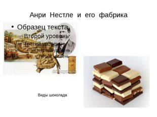 Анри Нестле и его фабрика Виды шоколада