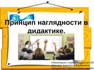 Принцип наглядности в дидактике. Подготовили: студентки группы 1407 Ударцева